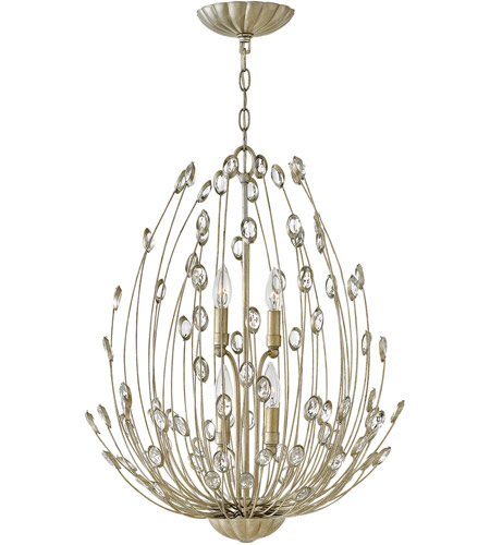 Fredrick Ramond FR31024SLF Tulah 4 Light 20 inch Silver Leaf Chandelier Ceiling Light, Two Tier photo