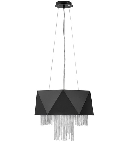 Zuma 6 Light 18 Inch Satin Black With Silver Chain Chandelier Ceiling Single Tier