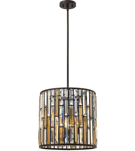 Fredrick Ramond FR33734VBZ Gemma 3 Light 16 inch Vintage Bronze Pendant Ceiling Light photo