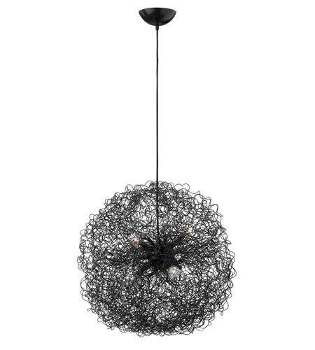 Fredrick Ramond Ion 6 Light Chandelier in Anodized Black FR36504ANB photo