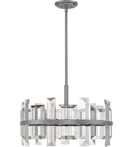Fredrick Ramond FR39214GMT Odette 6 Light 24 inch Gunmetal Pendant Ceiling Light photo