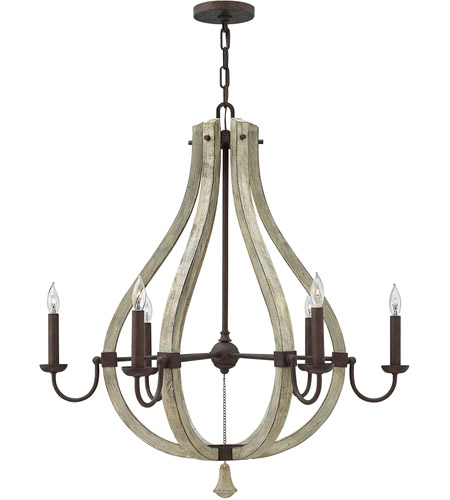 Fredrick Ramond FR40576IRR Middlefield 6 Light 30 inch Iron Rust Chandelier Ceiling Light, Single Tier photo