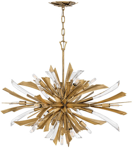 Fredrick Ramond FR40906BNG Vida 13 Light 36 inch Burnished Gold Chandelier Ceiling Light, Single Tier  photo