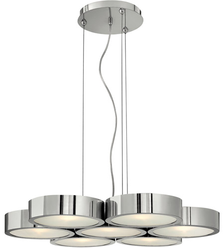Fredrick Ramond Broadway 7 Light Chandelier in Poilished Aluminum FR41434PAL photo