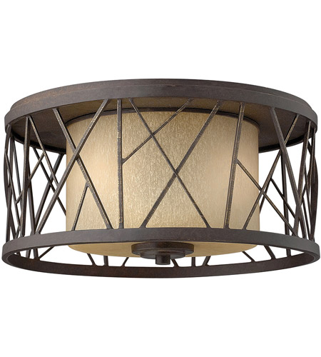 Fredrick Ramond FR41611ORB Nest 2 Light 17 inch Oil Rubbed Bronze Flush Mount Ceiling Light in Distressed Amber Etched photo
