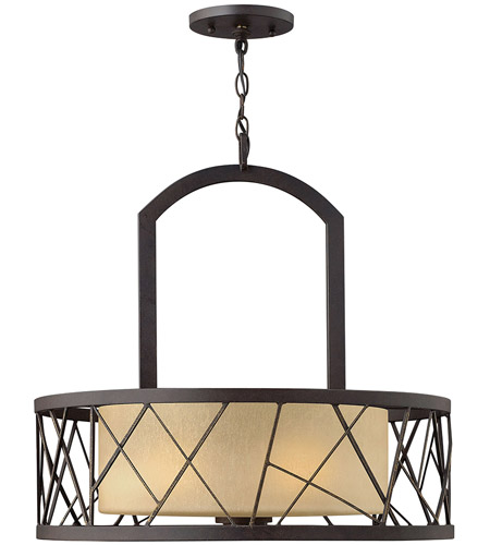 Fredrick Ramond FR41613ORB Nest 3 Light 24 inch Oil Rubbed Bronze Chandelier Ceiling Light in Distressed Amber Etched photo