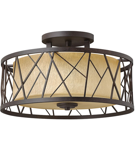Fredrick Ramond Fr41622orb Nest 3 Light 20 Inch Oil Rubbed Bronze Semi Flush Mount Ceiling In Distressed Amber Etched