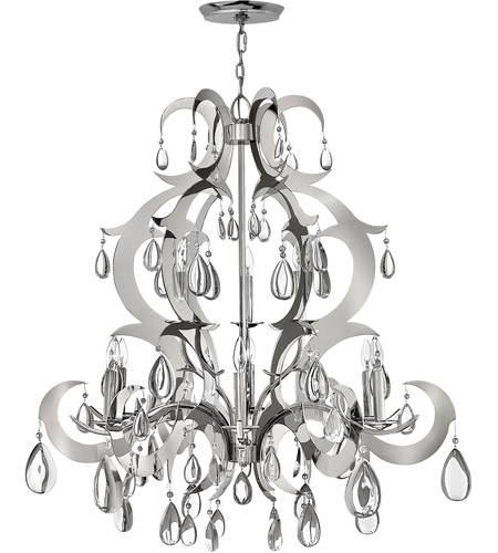Fredrick Ramond Xanadu 9 Light Chandelier in Polished Stainless Steel FR43358PSS photo