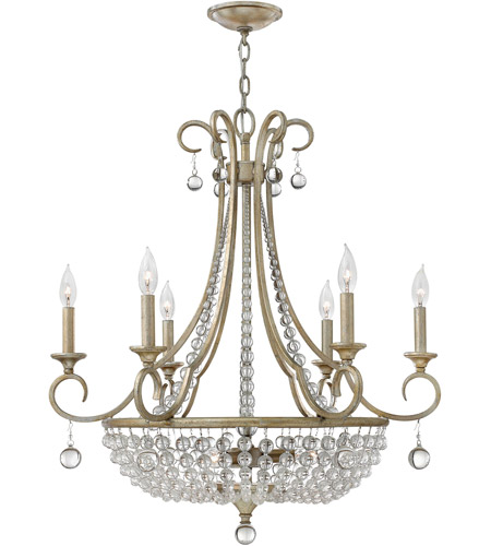 Fredrick Ramond FR43758SLF Caspia 9 Light 28 inch Silver Leaf Chandelier Ceiling Light photo