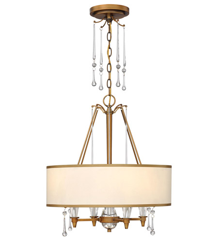 Fredrick Ramond FR44504BBZ Bentley 4 Light 20 inch Brushed Bronze Chandelier Ceiling Light in Off-White Cinnamon Trimmed photo