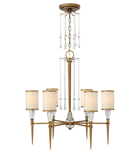 Fredrick Ramond FR44506BBZ Bentley 6 Light 27 inch Brushed Bronze Chandelier Ceiling Light in Off-White Cinnamon Trimmed photo