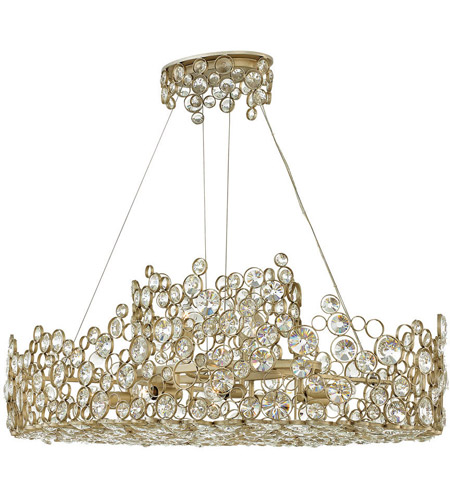 Anya 10 Light 40 Inch Silver Leaf Linear Chandelier Ceiling