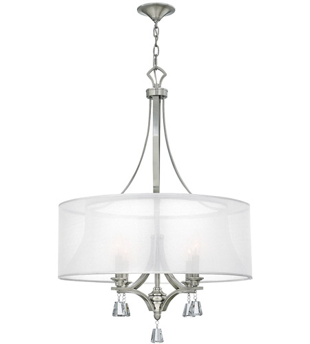 brushed nickel chandelier lighting with fabric shades mime light ceiling sheer hardback crystals