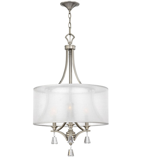 Fredrick Ramond FR45606BNI Mime 3 Light 19 inch Brushed Nickel Chandelier Ceiling Light in Sheer Hardback photo