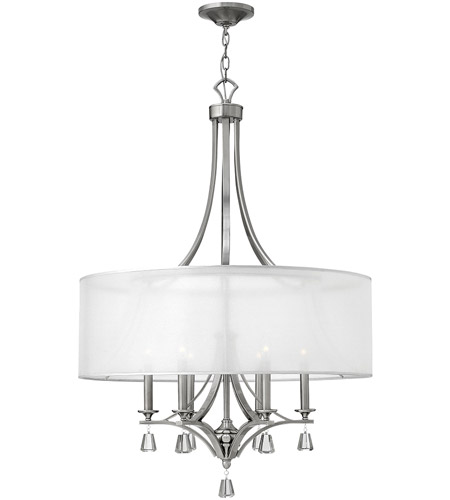 Fredrick Ramond FR45608BNI Mime 6 Light 30 inch Brushed Nickel Foyer Ceiling Light in Sheer Hardback, Single Tier photo