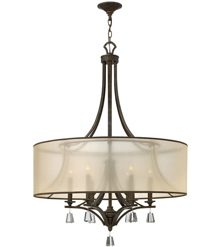 Fredrick Ramond FR45608FBZ Mime 6 Light 30 inch French Bronze Foyer Ceiling Light in Translucent Amber, Single Tier photo