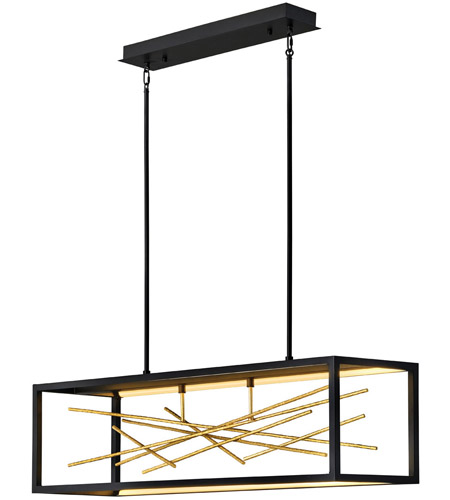 Fredrick Ramond FR46406BLK Styx LED 45 inch Black with Gilded Gold Linear Chandelier Ceiling Light photo