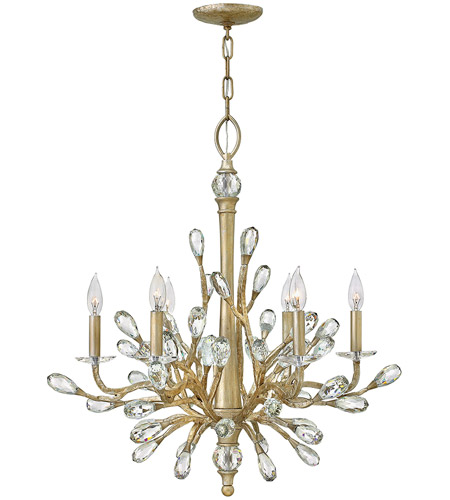 Fredrick Ramond FR46806CPG Eve 6 Light 26 inch Champagne Gold Chandelier Ceiling Light, Single Tier photo
