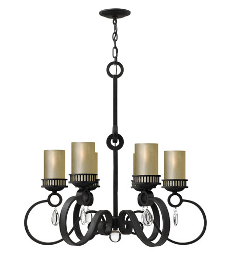Fredrick Ramond Cabrello 6 Light Chandelier in Black Iron FR49476BLI photo