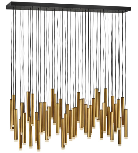 Fredrick Ramond FR49909HBR Harmony LED 48 inch Heritage Brass with Black Linear Chandelier Ceiling Light photo