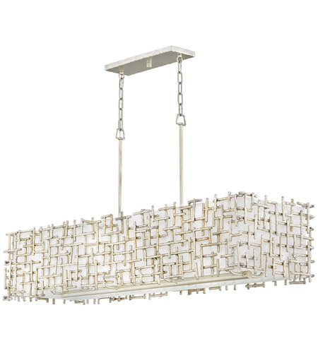 Fredrick Ramond FR33105SLF Farrah 8 Light 48 inch Silver Leaf Linear Chandelier Ceiling Light photo