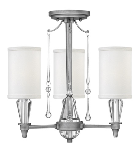 Fredrick Ramond FR44501ANI Bentley 3 Light 16 inch Antique Nickel Semi Flush Ceiling Light in White Linen photo