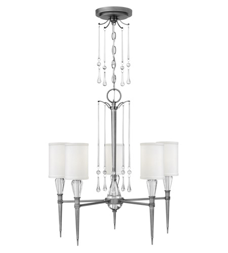 Fredrick Ramond FR44505ANI Bentley 5 Light 24 inch Antique Nickel Chandelier Ceiling Light in White Linen  photo