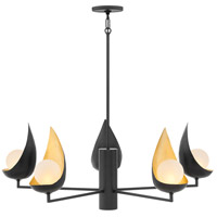 Ren 6 Light 36 inch Black Chandelier Ceiling Light, Single Tier