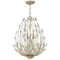 Tulah 4 Light 20 inch Silver Leaf Chandelier Ceiling Light, Two Tier
