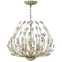 Tulah 5 Light 28 inch Silver Leaf Chandelier Ceiling Light, Single Tier