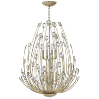 Tulah 8 Light 27 inch Silver Leaf Chandelier Ceiling Light, Two Tier