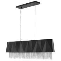 Fredrick Ramond FR32806SBK-SV Zuma 5 Light 43 inch Satin Black With Silver Chain Linear Chandelier Ceiling Light