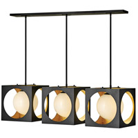 Fredrick Ramond FR33005ABK Vega 3 Light 47 inch Anvil Black with Gilded Gold Linear Chandelier Ceiling Light