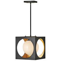 Fredrick Ramond FR33007ABK Vega 1 Light 13 inch Anvil Black with Gilded Gold Pendant Ceiling Light