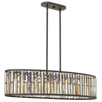 Gemma 6 Light 45 inch Vintage Bronze Linear Chandelier Ceiling Light