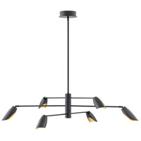 Fredrick Ramond FR35806BLK Bowery LED 50 inch Black Chandelier Ceiling Light, Single Tier