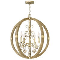 Abingdon 4 Light 24 inch Silver Leaf Foyer Light Ceiling Light, Single Tier