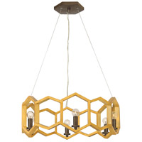 Moxie 6 Light 22 inch Sunset Gold Chandelier Ceiling Light, Single Tier