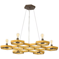 Moxie 6 Light 30 inch Sunset Gold Foyer Chandelier Ceiling Light, Single Tier