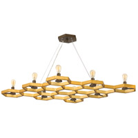 Fredrick Ramond FR38018SSG Moxie 8 Light 46 inch Sunset Gold Linear Chandelier Ceiling Light