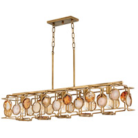 Lucia 5 Light 45 inch Burnished Gold Linear Chandelier Ceiling Light