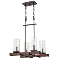Fredrick Ramond FR40205IRN Jasper 4 Light 18 inch Rustic Iron Chandelier Ceiling Light, Single Tier