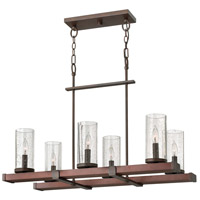Fredrick Ramond FR40206IRN Jasper 6 Light 32 inch Rustic Iron Linear Chandelier Ceiling Light, Single Tier