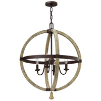 Middlefield 4 Light 24 inch Iron Rust Chandelier Ceiling Light, Single Tier