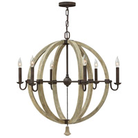 Middlefield 6 Light 31 inch Iron Rust Chandelier Ceiling Light, Single Tier
