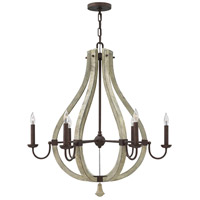 Middlefield 6 Light 30 inch Iron Rust Chandelier Ceiling Light, Single Tier