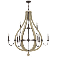 Middlefield 9 Light 41 inch Iron Rust Chandelier Ceiling Light, Two Tier