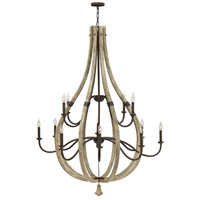 Middlefield 12 Light 48 inch Iron Rust Chandelier Ceiling Light, Two Tier