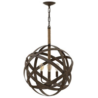 Fredrick Ramond FR40703VIR Carson 3 Light 19 inch Vintage Iron Chandelier Ceiling Light, Open Air