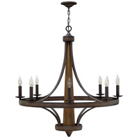 Bastille 8 Light 35 inch Vintage Bronze Chandelier Ceiling Light, Single Tier